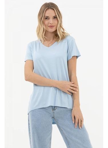 Sementa V Yaka Arkası Uzun Dökümlü Tshirt - Mavi Mavi